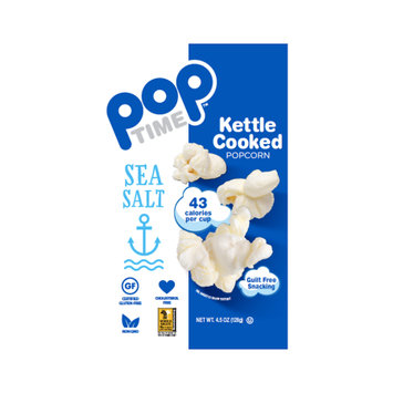 Ziggy Snack Foods POPTime Kettle Cooked Popcorn, Sea Salt, 4.5 Oz