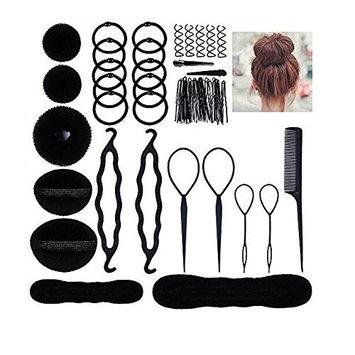 Pack of 10 Donut Bun Maker Fashion Hair Design Styling Accessory for Ladies Girls DIY Magic Hair Twist Styling Set