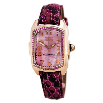 Invicta 10210 Women's Baby Lupah Pink MOP Dial Rose Gold Steel Interchangeable Leather Strap Watch