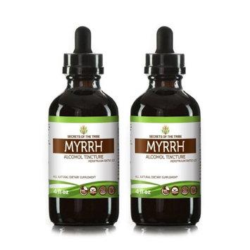 Secrets Of The Tribe Myrrh Tincture Alcohol Extract, Wildcrafted Myrrh (Commiphora myrrha) Dried Gum 2x4 oz