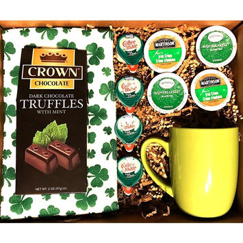 GreatArrivals Luck O' The Irish Small St. Patrick's Day Gourmet Gift Basket, 4 Pound [Boxed Set - Irish Tea and Coffee, Deluxe]