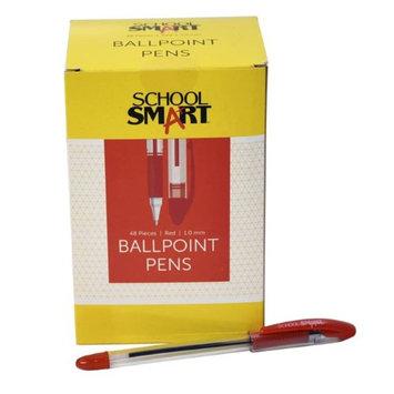 School Smart 1572354 1.0mm Pen Grip Medium Ballpoint Red - Pack of 48