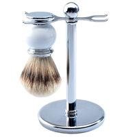 CSB Silvertip Badger Hair Shaving Brush and Luxury Chrome Stand Shaving Set, White Brush