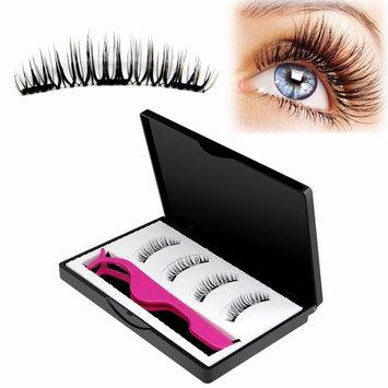 Magnetic False Eyelashes (3 Magnet 4 Pcs) Newest Design 3-Magnetic Magnetic Eyelash Extensions 3D Reusable Fake Lashes For Women Makeup, No Glue, Natural Look (3-4)