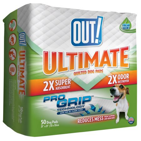 """OUT! Odor Control Quilted Dog Pads, 50ct, 21"""" x 21"""