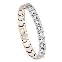 Elegant Womens Magnetic Therapy Bracelet,Pure Titanium Pain Relief for Arthritis and Carpal Tunnel with Free Link Removal Tool(Silver&G
