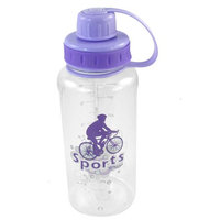 Cylinder Shaped Portable Purple Lid Plastic Clear Sports Water Bottle 750ML