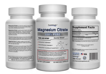 Superior Labs 1 Magnesium Citrate - No Magnesium Stearate - 500mg, 120 Vegetable Caps - Made In USA, 100% Money B