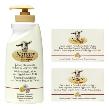 Canus Nature Moisturizing Body Lotion Original Formula and Nature Pure Vegetal Oil Base Soap Original Formula (Pack of 2) Bundle with Goat Milk and Soybean Oil, 11.8 oz. and 5 oz.