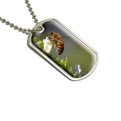 Graphics and More Bee On Flower Military Dog Tag Keychain (d2247)