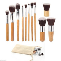 11 Piece Bamboo Handle Makeup Brushes Set Eyeshadow Cosmetics Tools Foundation Natural Beauty Palette Vanity Marvelous Popular Eyes Faced Colorful Rainbow Hair Highlights Glitter Girls Travel Kit