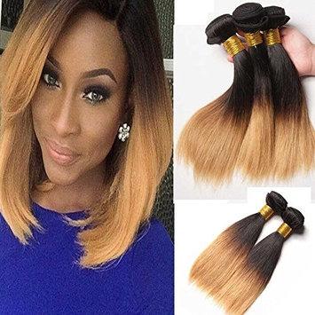 Fashion Lady Hair Peruvian 300g Silky Hair 1B#27 Straight Human Hair 3 Bundles Peruvian Blonde Ombre Hair Extensions 100% Virgin Remy Hair Weave Weft(10 10 12 inch)