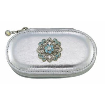 Blue Lace Flower Silver Small Make up Brush Case Set of 5 Brushes