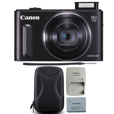 Canon PowerShot SX610 HS 20.2MP 18x Optical Zoom Wifi Black Digital Camera with Camera Case