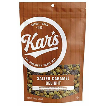 Kar's Nuts Salted Caramel Delight Trail Mix Snacks - Milk Chocolate Sea Salt Caramel Truffels, Butter Toffee Peanuts & Roasted Peanuts, 10 oz Resealable Pouch [Salted Caramel Delight]