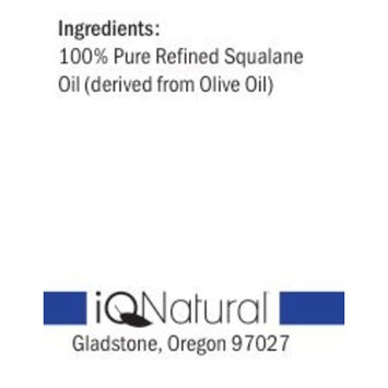IQ Natural's #1 Pure Squalane Oil (Olive Oil for Skin) for All Natural Dry Skin Hydration! Reverse Aging - 1oz