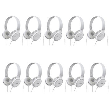 Panasonic Headphones RP-HF100M-W (White) Integrated Mic and Controller 10-PACK
