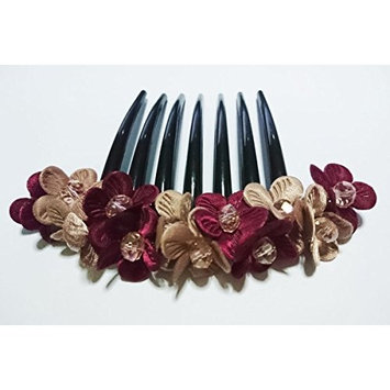 French twist hair comb Decorate Daisy Flowers purple two tone made ​​from fabric
