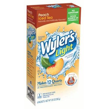 Jel Sert Wyler's Light Pitcher Packs! Drink Mix, Peach Iced Tea, 1.35 Oz, 6 Count Box, Pack of 8