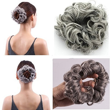 MERRYLIGHT Messy Fast Bun Ponytail Scrunchie Hairpiece (0629 Mixed Grey&White-M3/60)