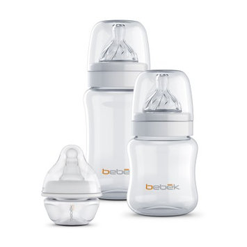 Bebek Baby Products Inc 5 oz + 9 oz Bebek Classic Anti Colic Clear BPA-Free Bottle with Sense-Flo Hospital Grade Silicone nipples