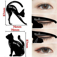 Tfan 2pcs/Set Kit Beauty Women Makeup Cat Eye Stencil Eyeliner Stencil Eyebrow Template Shaper Tool