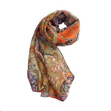 Datework Women Chiffon Printed Silk Long Soft Scarf Shawl (Orange)