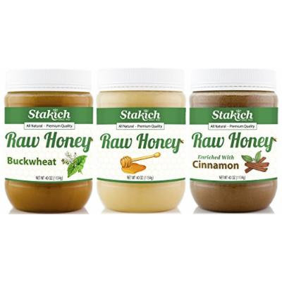 Stakich GIFT PACK - Original Raw Honey, Cinnamon Raw Honey, Antioxidant Raw Honey - Pure, Unprocessed, Unheated, KOSHER
