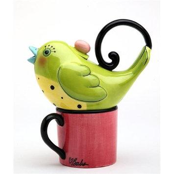 Cosmosgifts Green Bird 0.38-qt. Tea Kettle Set for One