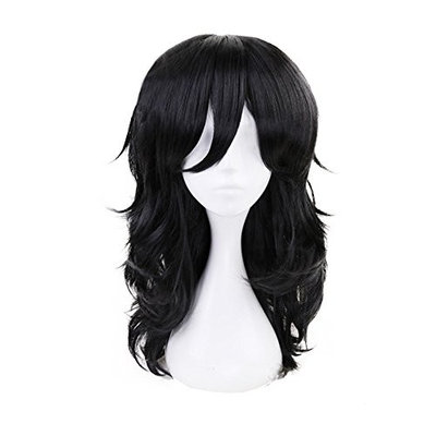 Christmas Party Wigs Anime Long Black Cosplay Wig with free Cap