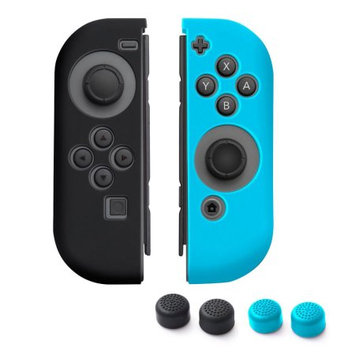 Nintendo Switch Joy-Con case, by Insten (Left BLACK + Right BLUE) Nintendo Switch Joy-Con Skin Case Cover with 2-Pcs Thumb Grip Stick Caps (Style 1) For Nintendo Switch Joy Con Left/Right Controller