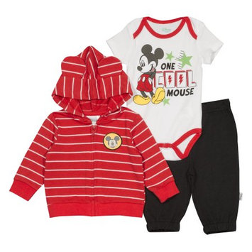 Fisher-price Disney Mickey Mouse Newborn Baby Boy French Terry Hoodie 3pc Set