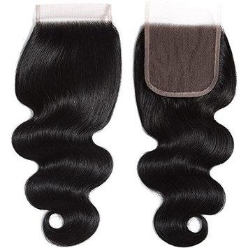 Alibeauty 8A Virgin Brazilian Body Wave 44 Lace Closure 130% Density Free Part Closure Natural Black Hair