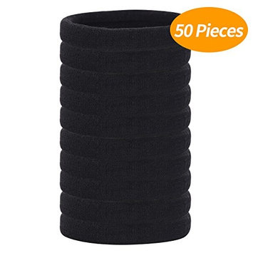 Senkary 50 Pieces Thick Hair Ties Large Cotton Stretch Hair Ties Hair Bands Rope Hair Elastics Ponytail Holders for Thick Heavy and Curly Hair, Black