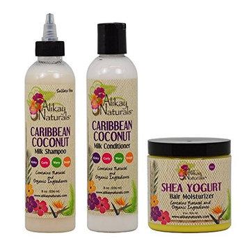 Alikay Naturals Caribbean Coconut Milk Shampoo + Conditioner + Shea Yogurt Hair Moisturizer 8oz