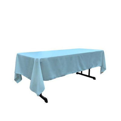 LA Linen TCpop60x144-TurquoiseLghtP40 Polyester Poplin Rectangular Tablecloth Light Turquoise - 60 x 144 in.