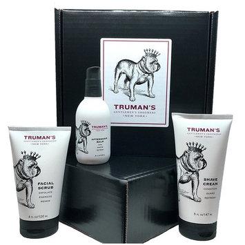 Truman's Gentlemen's Groomers Men's Shave Regimen, Facial Scrub, Shave Cream, and Aftershave Balm Gift Box