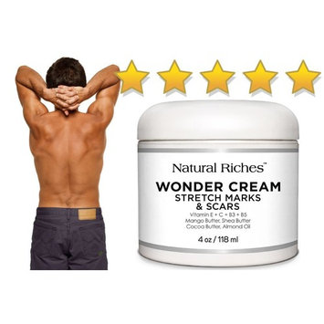 Stretch Marks & Scar Removal Cream, from Natural Riches - 4 oz - 100% Natural, Reduces the Appearances of Keloids, Pregnancy Stretch Marks and...