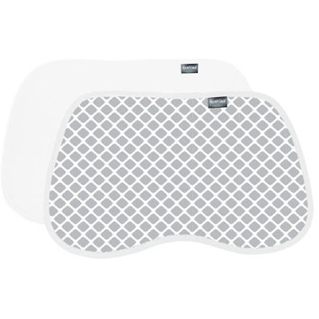 Kushies Burp Pads Flannel 2-Pack Lattice Grey / White