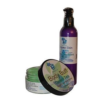 Diva Pair, Crepey Skin Body and Face Cream & Exfoliating Sugar Scrub,Green Tea Scent