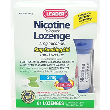 Leader Nicotine Lozenges 2 mg, Stop Smoking Aid, 81 Lozenges Per Box (5 Boxes)