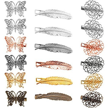 Cocider 18 Pack Hair Clips Vintage Feather Butterfly Leaf Flower Shape Hair Clip Headwear Lady Hair Accessories