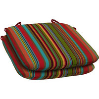 Arden Companies Mainstays Outdoor Resin Seat Pad, Set of 2, Bright Stripe