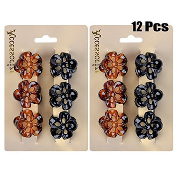 Fascigirl Claw Clips, 12 Pcs Mini Hair Clips Plastic Clamps Classic Octopus Jaw Clips for Women Girls (Black and Brown)