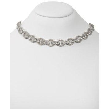 Silver-Tone Cubic Zirconia Link Collar Necklace, 16