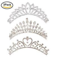 Ondder Wedding Prom Bridal Crown 3 Pack Bridal Rhinestone Crystal Decor Headband Hair Side Comb