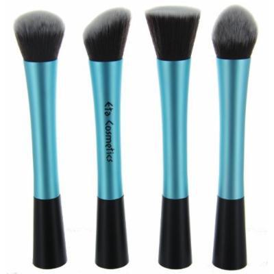 ETA Stand Alone Premium Synthetic Taklon Bristles Vegan Makeup Brushes with Aluminum Ferrule (Full Set, Blue)
