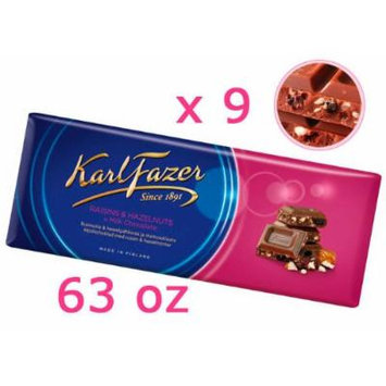 9 Bars of Karl Fazer Finland Milk Chocolate with Raisins and Hazelnuts