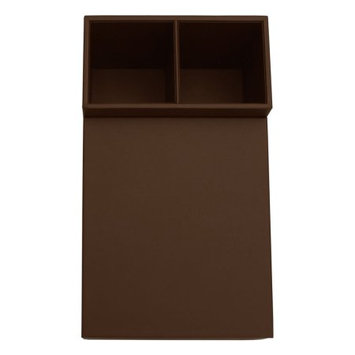 Dacasso Chocolate Brown Leather Coffee Condiment Organizer