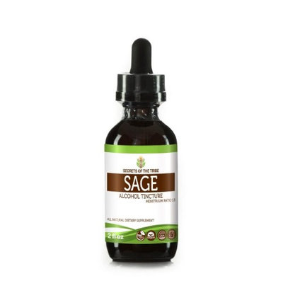 Secrets Of The Tribe Sage Tincture Alcohol Extract, Organic Sage (Salvia officinalis) Dried Leaf 2 oz